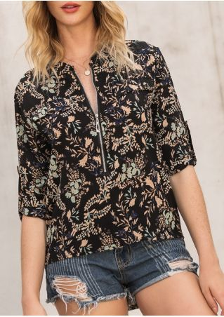 Floral Zipper Tab-Sleeve Blouse without Necklace
