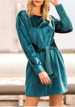 Solid Velvet Tie Mini Dress