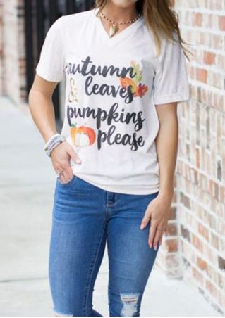 Autumn & Leaves Pumpkins Please T-Shirt without Necklace