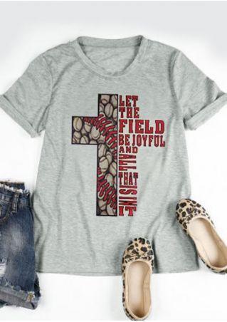 Let The Field Be Joyful Cross Baseball T-Shirt