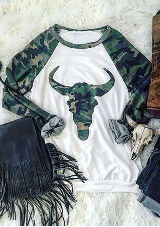 Camouflage Printed Bull Head Baseball T-Shirt