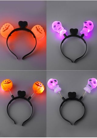 Pumpkin Skull Heart LED Headband