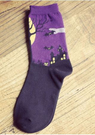 Halloween Bat Castle Mid Calf Socks