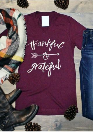 Thankful & Grateful Arrow V-Neck T-Shirt