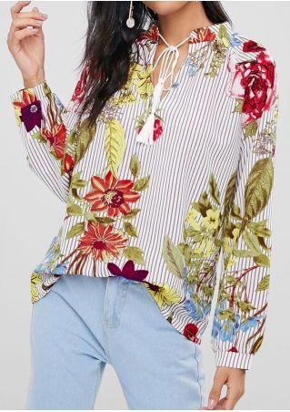 Floral Striped Tassel Tie Long Sleeve Blouse