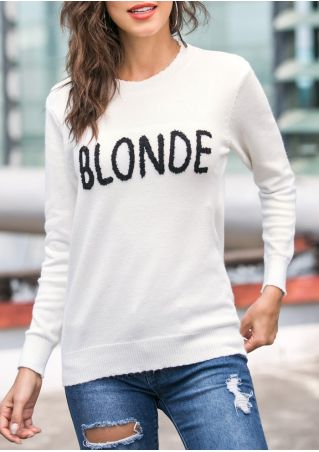 Blonde Long Sleeve O-Neck Sweater