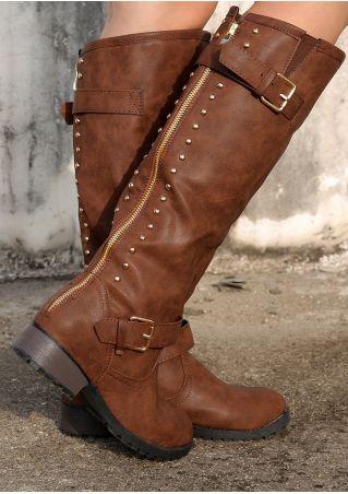 Zipper Rivet Low-Heeled Riding Boots