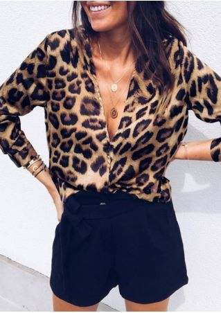 Leopard Printed Deep V-Neck Blouse without Necklace