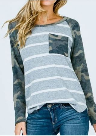 Striped Camouflage Printed Baseball T-Shirt