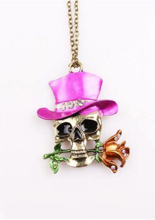 Halloween Skull Rose Necklace