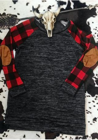Plaid Splicing O-Neck Baseball T-Shirt