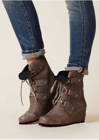 Lace Up Retro Wedge Boots
