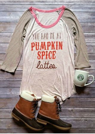 Striped Pumpkin Spice Baseball T-Shirt