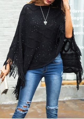 Solid Asymmetric Fringe Poncho Sweater without Necklace