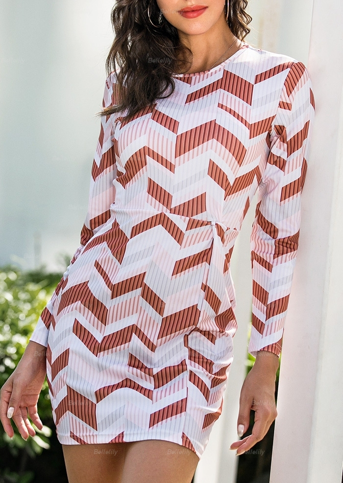 Geometric Long Sleeve Bodycon Dress