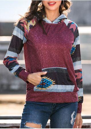 Geometric Striped Splicing Pocket Hoodie