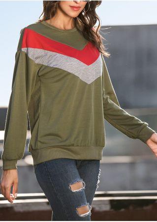 Color Block Splicing Drop-Shoulder Sweatshirt