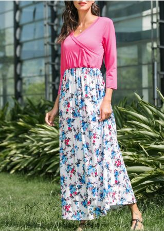 Floral Wrap Maxi Dress without Necklace