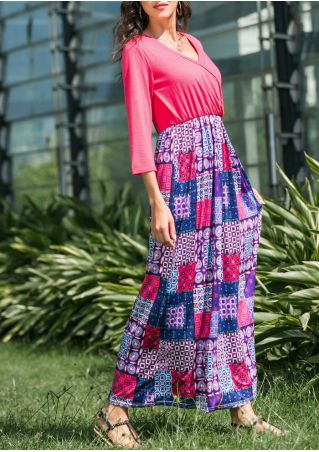 Patchwork Wrap Maxi Dress without Necklace