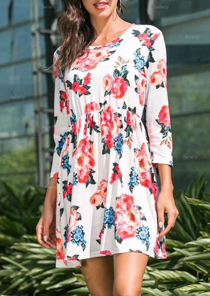 Floral Three Quarter Sleeve Mini Dress
