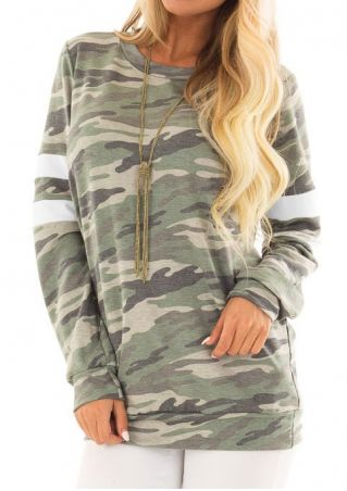Camouflage Long Sleeve T-Shirt without Necklace