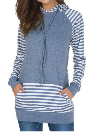 Striped Splicing Pocket Long Sleeve Hoodie