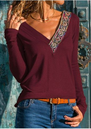 Applique Deep V-Neck Blouse