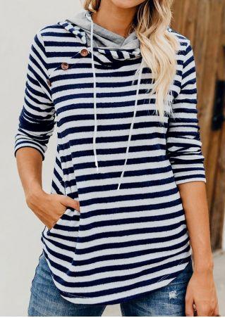 Striped Button Pocket Drawstring Hoodie