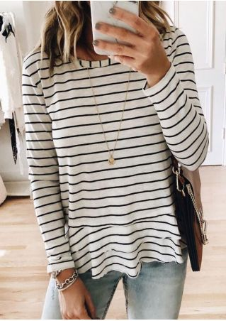 Striped Flouncing Blouse without Necklace