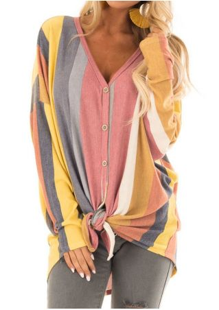 Rainbow Striped Batwing Sleeve Blouse