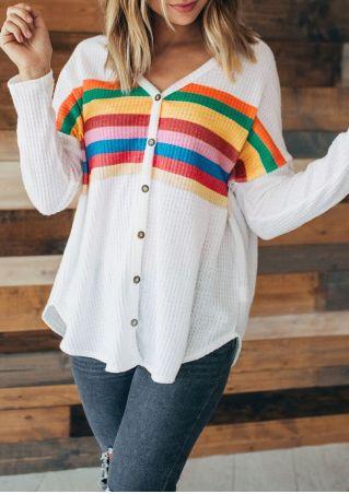 Rainbow Striped V-Neck Cardigan
