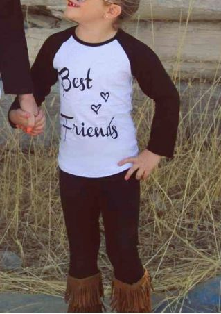 Kids Best Friends Heart Baseball T-Shirt