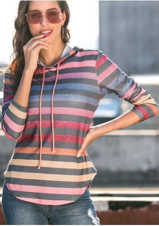 Striped Gradient Color Asymmetric Drawstring Hoodie