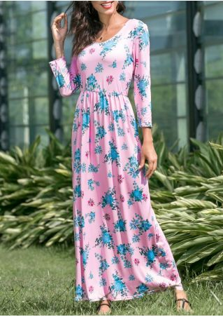 Floral O-Neck Maxi Dress without Necklace
