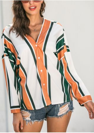 Striped Long Sleeve Shirt without Necklace