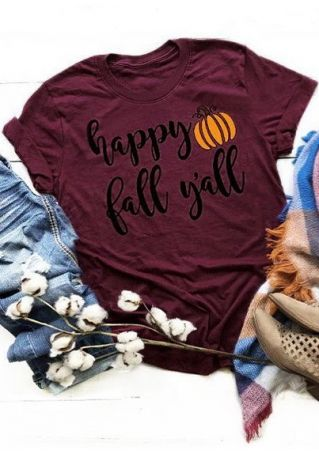 Happy Fall Y'all Pumpkin T-Shirt