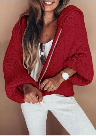 Solid Zip Up Hooded Coat without Necklace