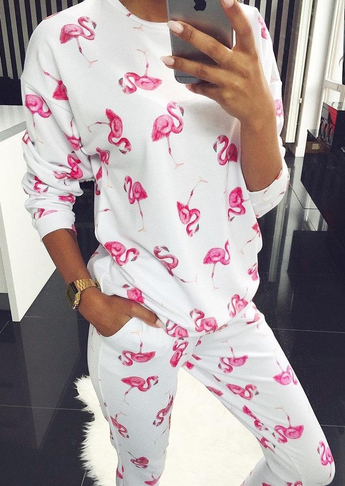 Flamingo Drop-Shoulder Blouse & Pants Set