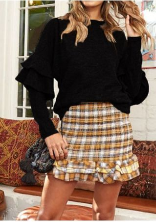 Solid Knitted Flouncing Long Sleeve Sweater