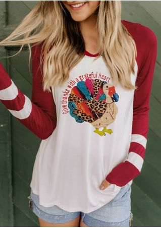 Turkey Give Thanks With A Grateful Heart Baseball T-Shirt