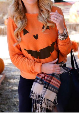 Pumpkin Printed Casual Sweatshirt