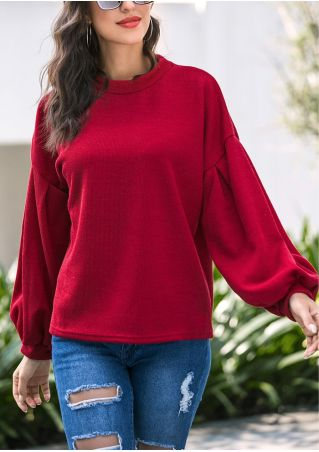 Solid Lantern Sleeve O-Neck Blouse