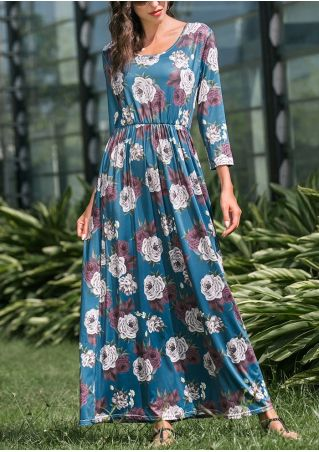 Floral Ruffled Maxi Dress without Necklace