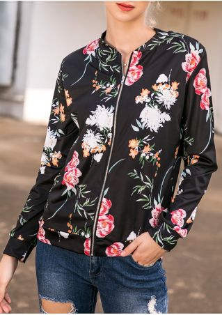 Floral Zipper Long Sleeve Jacket without Necklace