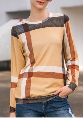 Plaid Pocket Long Sleeve Sweatshirt