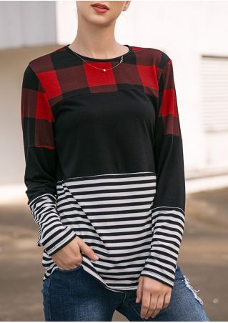 Plaid Striped Splicing T-Shirt without Necklace