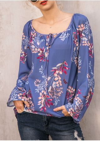 Floral Tie Long Sleeve Blouse without Necklace