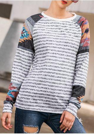 Striped Geometric Splicing Baseball T-Shirt