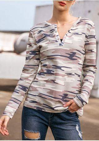 Camouflage Printed V-Neck Sweatshirt