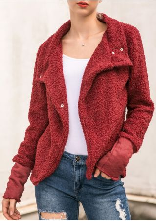 Solid Fleece Button Coat without Necklace